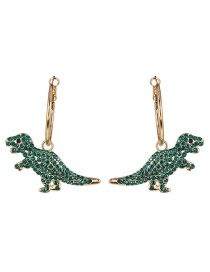 Fashion Green Dinosaur Micro-inlaid Zircon Earrings