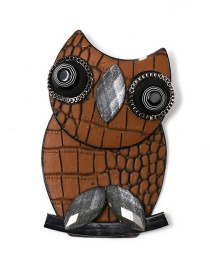 Fashion Brown Owl Leather Brooch