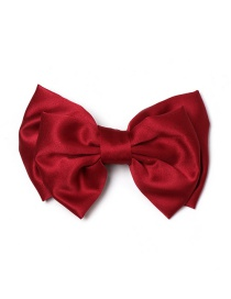 Fashion Red Chiffon Printed Two-layer Bow Spring Clip