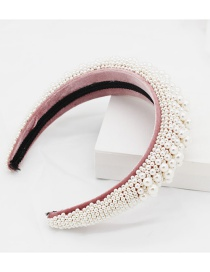 Fashion Pink Full Pearl Sponge Headband