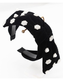 Fashion Black Full Diamond Snowflake Bow Headband