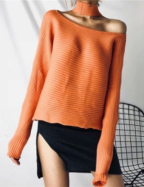 Fashion Orange Orange Front And Back Wearing A Halter Sweater