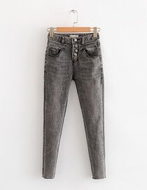 Fashion Gray Multi-button High-elastic Jeans