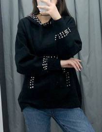 Fashion Black Contrast Stitching Inlaid Sweater