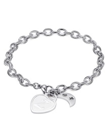 Fashion Silver Moon Hollow Star Alphabet Stainless Steel Bracelet