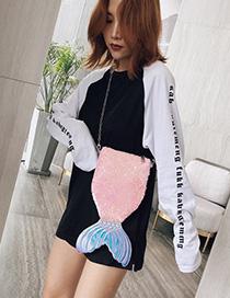Fashion Pink Laser Sequin Mermaid Shoulder Messenger Bag