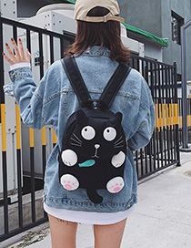 Fashion Small Black Cartoon Cat Eating Small Fish Canvas Shoulders Parent-child Package