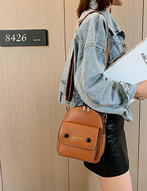 Fashion Yellow Brown Letter Backpack