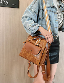 Fashion Yellow Brown Rivet Oil Skinny Shoulder Shoulder Bag