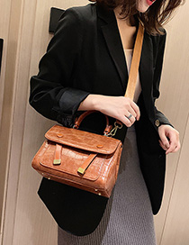 Fashion Brown Embroidered Line Stone Pattern Shoulder Bag