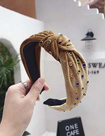 Fashion Yellow Hot Drilling Knotted Wide-brimmed Headband
