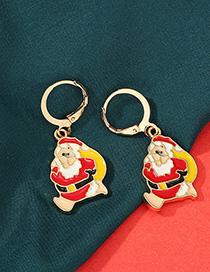Fashion Santa Claus Color Cartoon Christmas Earrings