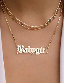 Fashion Gold English Babygirl Letter Double Necklace