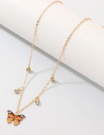 Fashion Orange Butterfly With Diamond Necklace