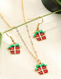 Fashion Gold Christmas Drop Earrings Necklace