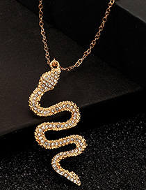 Fashion Gold Serpentine Metal Diamond Necklace