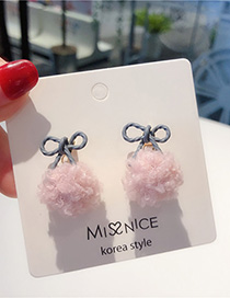 Fashion Pink (bow Tie) 925 Silver Needle Hair Earrings