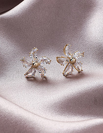 Fashion Main Picture 925 Silver Needle Crystal Flower Earrings