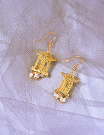 Fashion Gold Small Lantern 4k Gold Pierced Rice Earrings