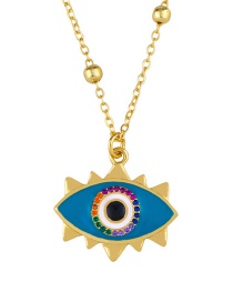 Fashion Blue Eyes Heart Drop Necklace