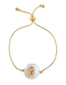 Fashion Boy Gold Love Crown Zircon Pearl Pulling Bracelet