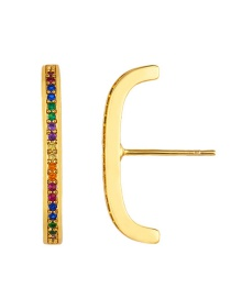 Fashion Straight Micro-inlaid Zircon U-shaped Full-studded Earrings