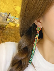 Fashion Color Hollow Geometric Alloy Studded Tassel Earrings