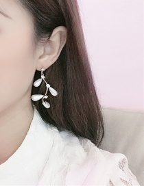 Fashion White Alloy Branch Pearl And Diamond Earrings