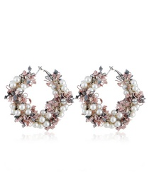 Fashion Pink Alloy Garland Pearl Earrings
