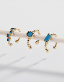 Fashion Blue Three Sets Of Copper Fittings Open Ear Clips