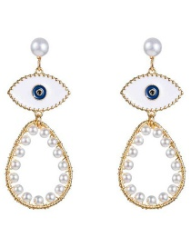 Fashion Gold Drop Oil Eye Pearl Earrings