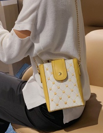 Fashion Yellow Lingge Embroidery Chain Shoulder Diagonal Package