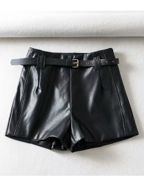 Fashion Black Belted A Word Leather Shorts