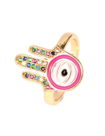 Fashion Pink Colorful Diamond Drop Oil Open Palm Eye Ring