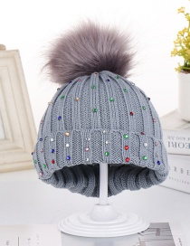 Fashion Gray Colorful Diamond Wool Knit Baby Hat