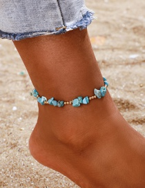 Fashion Blue Beaded Stone Anklet Single Layer