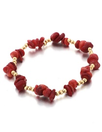 Fashion Red Beaded Stone Anklet Single Layer