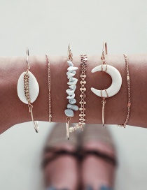 Fashion Gold Crushed Horn Shell Chain Moon Bracelet 6 Piece Set
