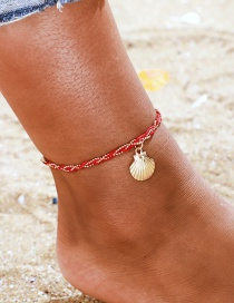 Fashion Red Scallop Red Wire Rope Braided Alloy Shell Anklet