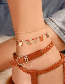Fashion Gold Mizhu Tassel Double Drop-shaped Anklet