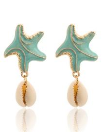 Fashion Green Starfish Shell Seahorse Pearl Earrings