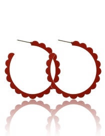 Fashion Red Wine Drip Oil C-type Lace Earrings