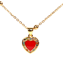 Fashion Gold Diamond Heart Drop Necklace
