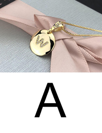 Fashion A Gold Glossy Diamond-plated Copper Plated Zircon English Alphabet Curved Necklace