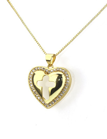 Fashion Gold Openwork Zirconium Heart Necklace