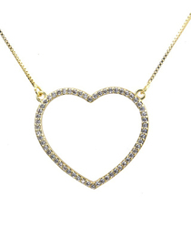 Fashion Gold Zirconium Heart Shaped Hollow Necklace