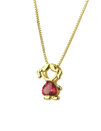 Fashion Red Zirconium Girl Zirconium Boy Girl Necklace
