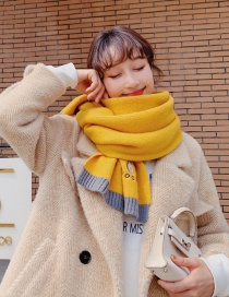 Fashion Yellow Avocado Pattern Knitted Wool Scarf Shawl Dual Purpose