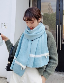 Fashion Light Blue Wool Thickening Bow Shawl Scarf