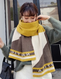 Fashion Yellow Knitted Wool Geometric Color Matching Scarf